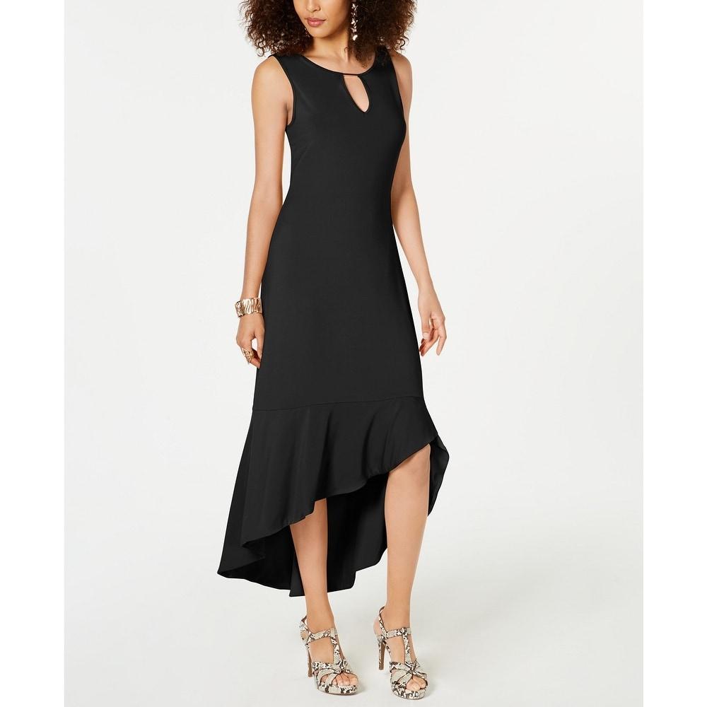 Thalia Sodi Womens Flounce-Hem Maxi Dress Black Size Medium