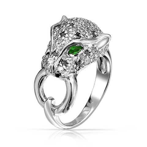 Classic Black White Panther Cat Green Eye Cubic Zirconia CZ Cocktail Ring For Women Rhodium Plated Brass