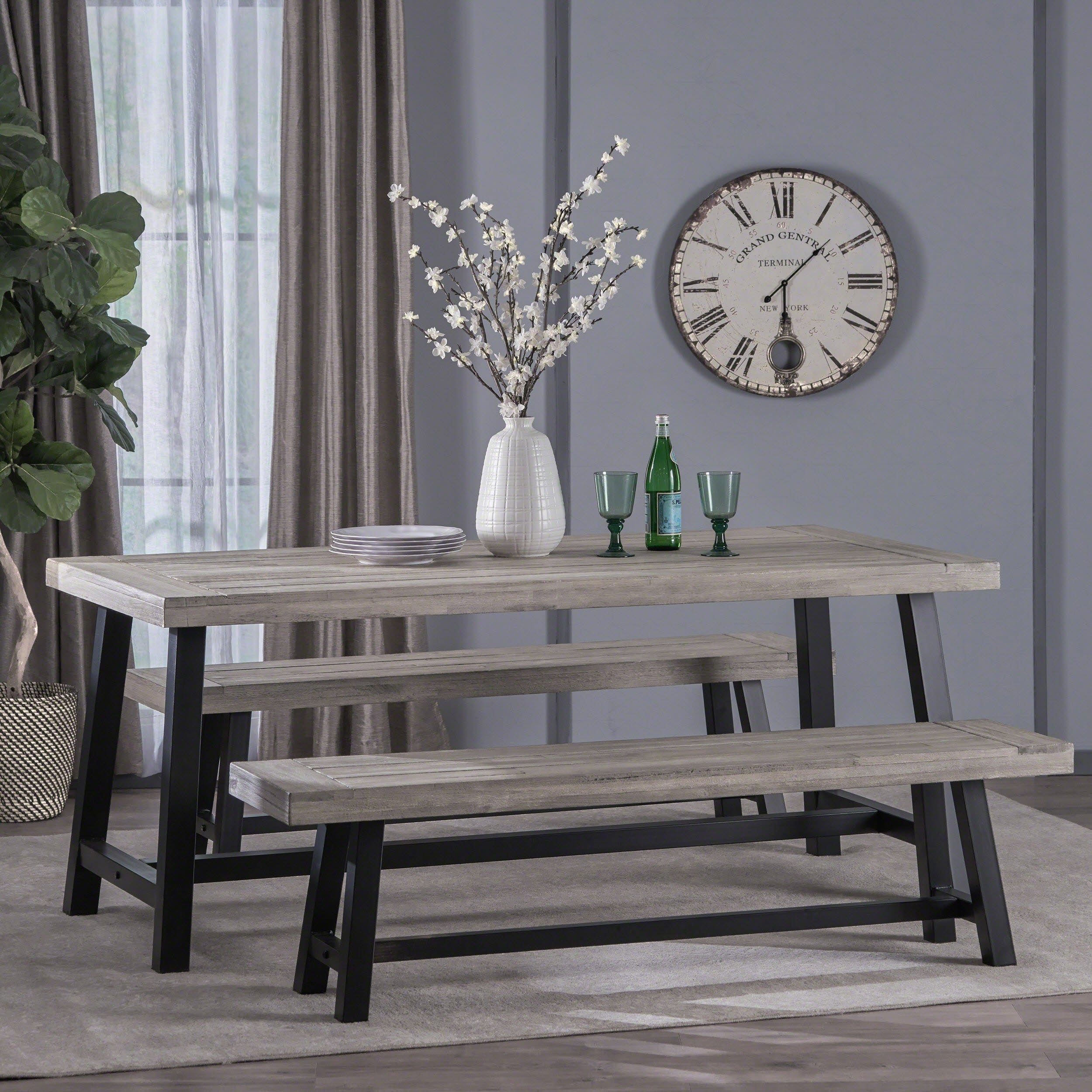 Jubilee Modern Industrial 3 Piece Acacia Wood Picnic Dining Set With Benches By Christopher Knight Home Overstock 22869204