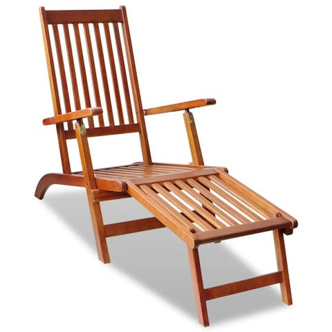 "vidaXL Outdoor Deck Chair with Footrest Solid Acacia Wood - 66"" x 22"" x 30"""