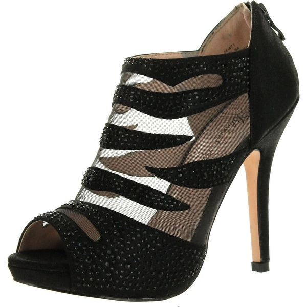 Blossom Womens Yael-54 Peep Toe Rhinestone Studded Low Platform Pump Dress Sandals