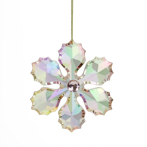 "4"" Rich Elegance Pink Iridescent Faceted and Jeweled Snowflake Christmas Ornament"