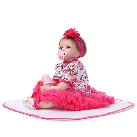 """22"""" Mini Cute Simulation Baby Toy in Floral Lace Dress Red - 7'9"""" x 10'10"""""""