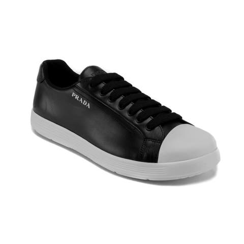 Prada Men's Leather Low-Top Sneaker Shoes Black