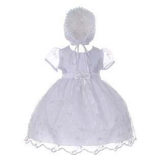Cinderella Couture Baby Girls White Sequin 3D Flower Bonnet Baptism Dress