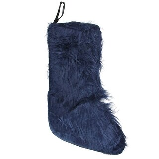 "17.5"" Navy Blue Plush Faux Fur Christmas Stocking"