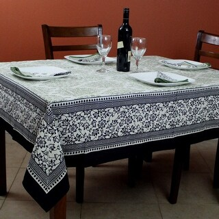 Cotton French Country Floral Tablecloth Square 72x72 Inches Napkins Black Green - 72 x 72 inches