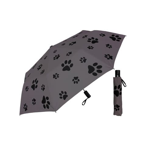 "Rainstoppers Unisex Adult Gray 44"" Auto Open Puppy Dog Paw Super Mini Umbrella - One Size"