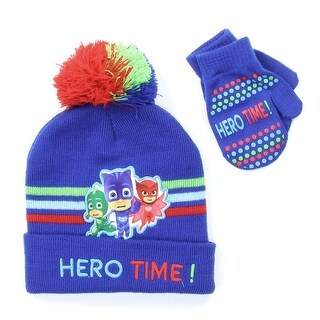 Disney Toddler Boys' PJ Masks Winter Hat with Pompom and Mitten Set