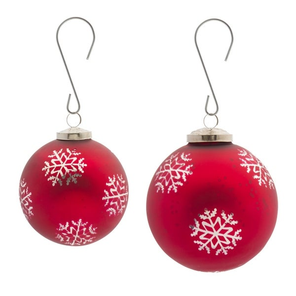"""Set of 8 Red and White Snowflake Glass Ball Christmas Ornaments 6"""". Opens flyout."""