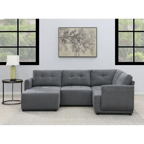 Picket House Furnishings Gianni Modular Right Hand Facing Chair in Charcoal