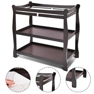 Costway Espresso Sleigh Style Baby Changing Table Infant Newborn Nursery Diaper Station