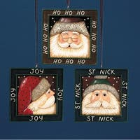 Club Pack of 12 Primitive Square Santa Claus Head Saying Christmas Ornaments - multi