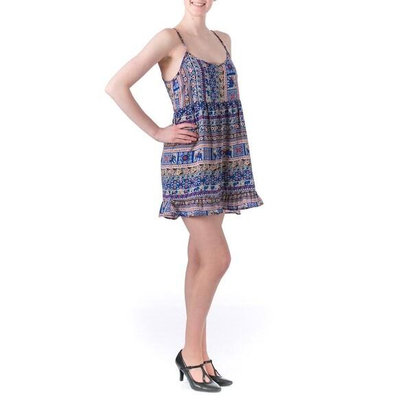 One Clothing Womens Juniors Ruffled Printed Sundress