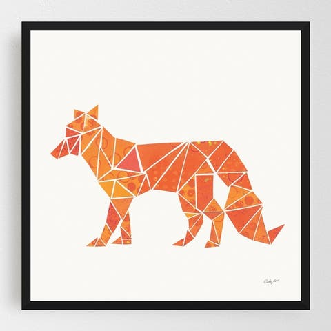 Animals Fox Geometric Nordic Patterns Framed Wall Art Print