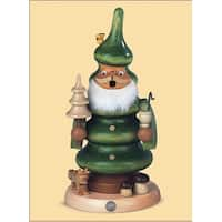 "7.75"" Muller Collectible German Green Tree Smoking Man Wooden Christmas Smoker"