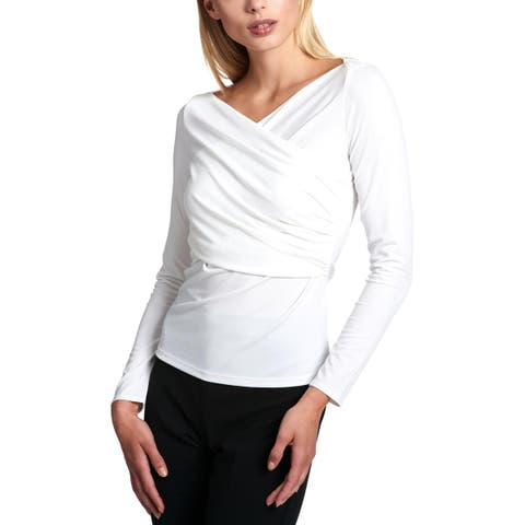 DKNY Womens Blouse Faux Wrap Ruched