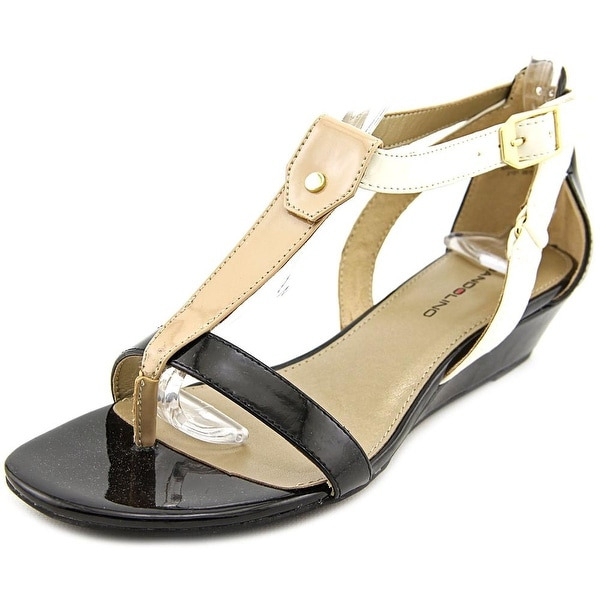 Bandolino Pooky Women Open Toe Synthetic Black Wedge Sandal