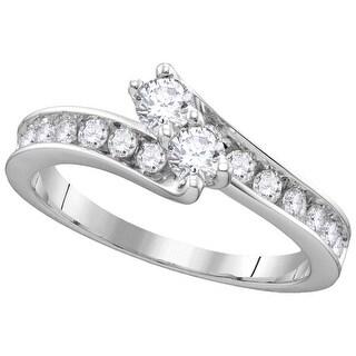 14kt White Gold Womens Round Diamond 2-stone EGL Certified Bridal Wedding Engagement Ring 1.00 Cttw