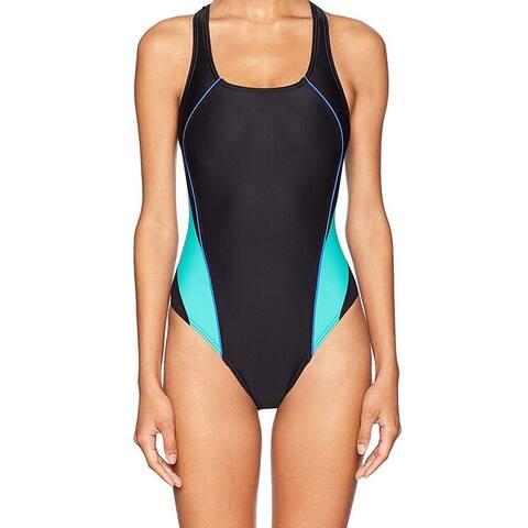 Speedo Women's Swimwear Blue Black Size 6 One-Piece Colorblocked Cutout