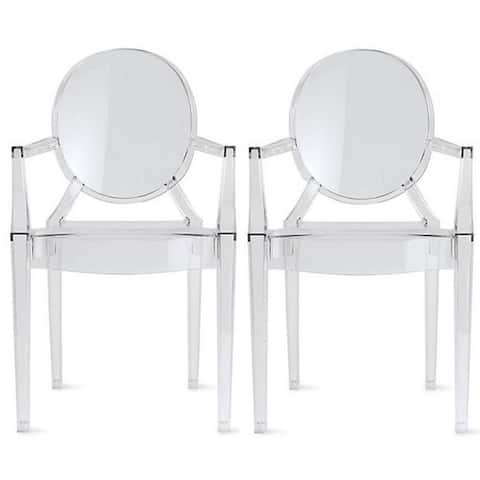 Set of 2 Clear Modern Dining Living Room Designer Ghost Armchairs With Crystal Clear Transparent Seat Indoor Outdoor