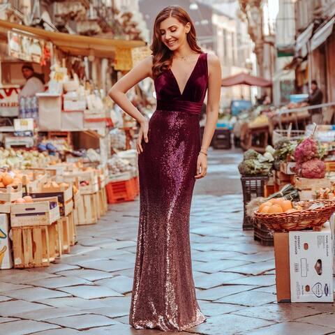 Ever-Pretty Women's Bodycon V-Neck Velvet Sequin Formal Evening Party Dress 07767