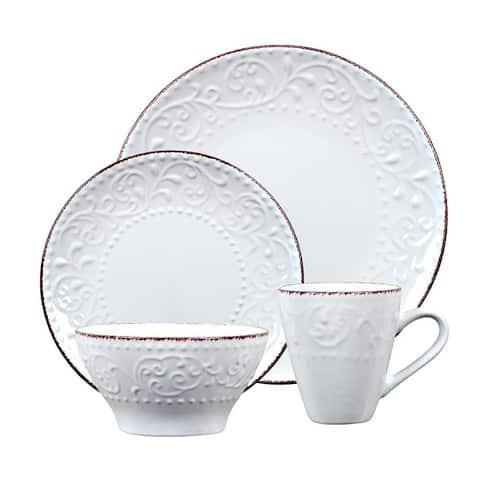 Lorren 16-pc. White Scrollwork Stoneware Dinnerware Set