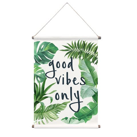"Brewster WPT2929 WallPops Good Vibes 32"" x 18"" Palms and Leaves Vinyl Canvas Wall Hanging Tapestry -"