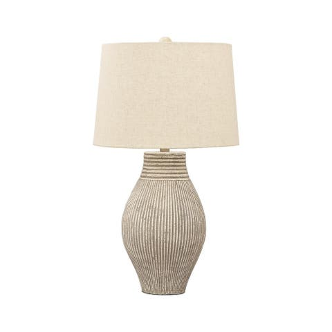 "Aleela Contemporary White/Gold Textured Metal Lamp - 21.5"" H"