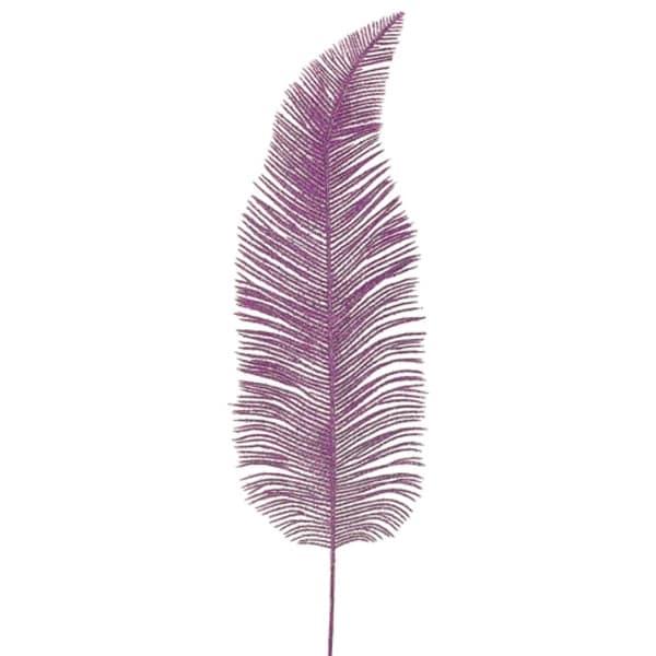 "20"" Princess Garden Pink Glitter Drenched Fern Frond Craft Pick Spray"