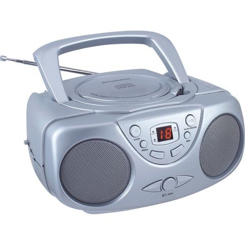 Sylvania Srcd243M Silver Portable Cd Boom Box With Am/Fm Radio (Silver)