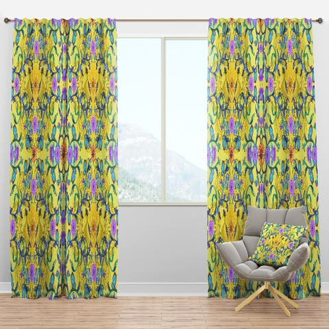 Designart 'Fancy Arabesque of Swirly Ornaments & Lovely Birds' Bohemian Blackout Curtain Panel