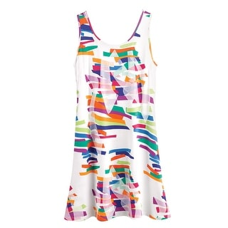 Women's Double Rainbow Dress -Colorful A-Line Swing Sleeveless Sundress