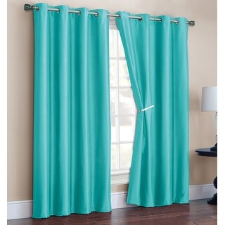 Radiance 2 Pack Faux Silk Room Darkening Grommet Panel, Aqua, 52x90 Inches - N/A