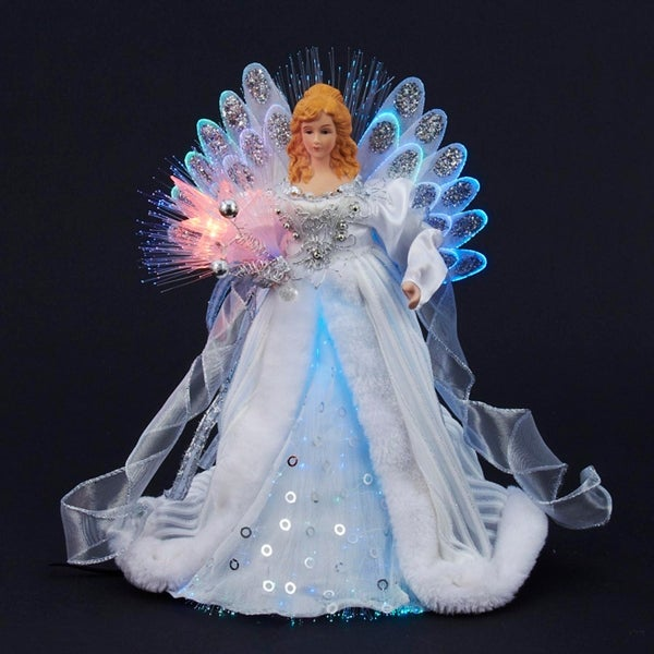 "Christmas Tree Fiber Optic Lights: Shop 12"" Elegant Silver And White LED Light Fiber Optic"