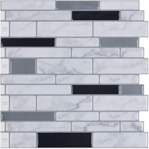 "Art3d 12"" × 12"" Vinyl Peel and Stick Backsplash Tile (10-Pack) Marble Brick"