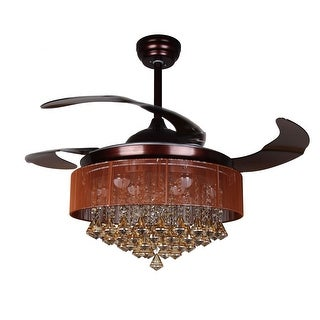 Foldable 4-Blades 42.5-inch LED Crystal Ceiling Fan with Remote