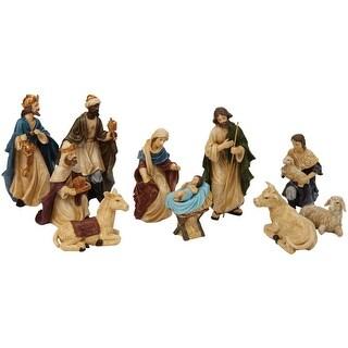 Heartland Valley G125983 Christmas Decorations Village Nativity Set, Antique, 11 Piece