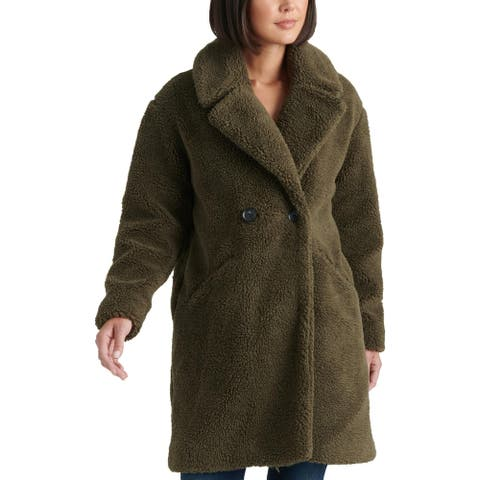 Lucky Brand Womens Teddy Double Face Coat Winter Faux Fur - Olive