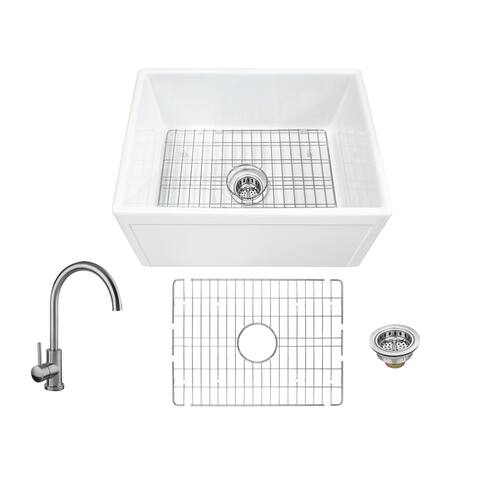 Soleil All-In-One White Fireclay Picture Frame/Plain Reversible Apron Front Single Bowl Kitchen Sink with Gooseneck Faucet