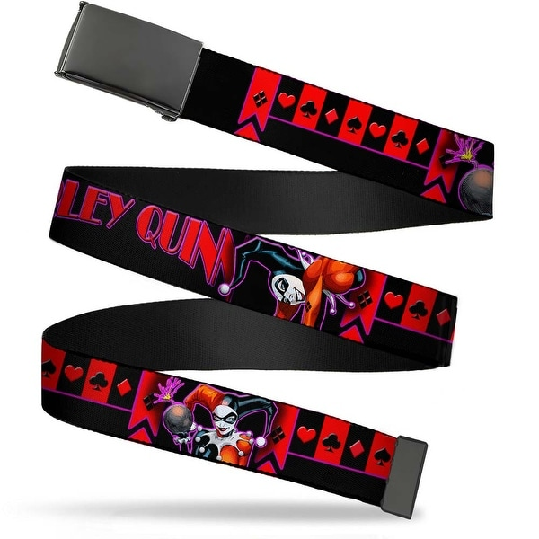 Blank Black Buckle Harley Quinn Bomb Poses Suits Black Purple Red Web Belt