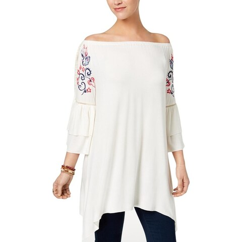 NY Collection Womens Peasant Top Ruffled Bell Sleeves