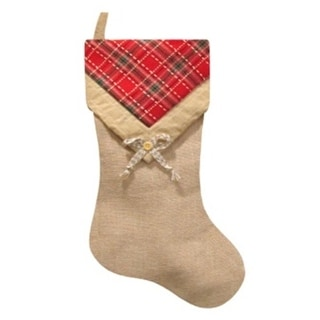 "20.5"" Burlap and Plaid V-Cuff with Button Decorative Christmas Stocking"