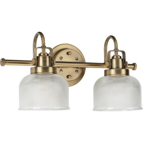 Archie Collection Two-Light Vintage Brass Clear Double Prismatic Glass Coastal Bath Vanity Light - 17 in x 7.25 in x 8.75 in