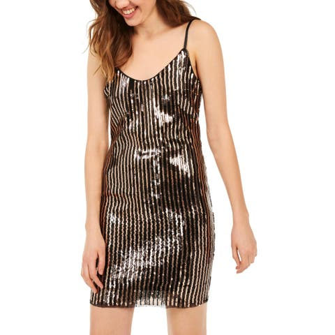 Bebe Womens Bodycon Dress Cowl Back Cocktail - Black/Gold
