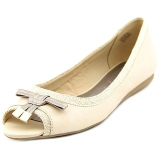 Easy Spirit Panga Open-Toe Leather Flats