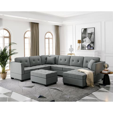 Direct Wicker U-Shape Upholstered Couch with Storage Ottoman for Living Room