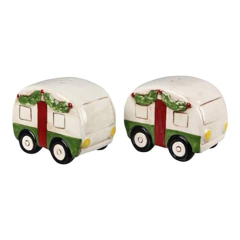 White and Green Holiday Campers Salt and Pepper Shaker Set
