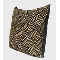 "G Home Collection Luxury Black and Gold Geometry Pattern Embroidered Pillow 20""X20"" - Thumbnail 1"