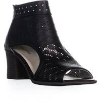 Seven Dials Belanna Perforated Block Heel Sandals, Black
